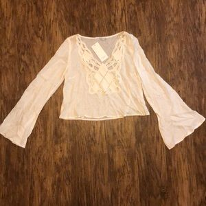 white crop top with lattice front